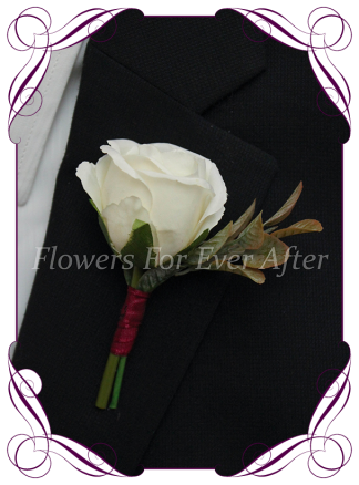 Silk artificial ivory rose bud with burgundy mens gents button boutonniere for wedding formal prom.