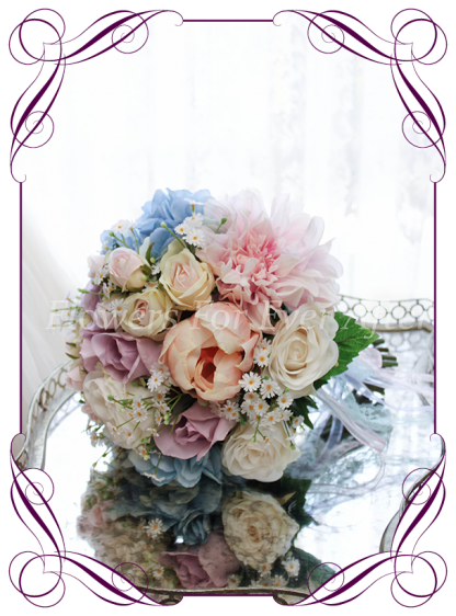 Silk Artificial Bridal bouquet posy featuring faux flower blue hydrangea and roses in a classical style and pastel tones. Made in Melbourne by Australia's best Silk Florist, worldwide shipping available