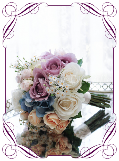 Silk Artificial Bridesmaids posy bouquet featuring faux flower blue hydrangea and roses in a classical style. Made in Melbourne, worldwide shipping available