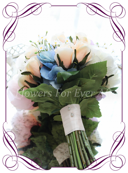 Silk Artificial Bridesmaids posy bouquet featuring faux flower hydrangea and roses in a classical style. Made in Melbourne, worldwide shipping available