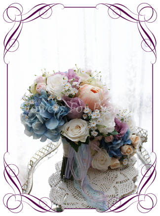 Artificial Bridal Flower Package, Bridal Bouquet, Bridesmaid Posy, Boutonierre, Corsage, Featuring Faux Flower Hydrangea, Roses Peonies and Buds. Finished in soft flowing ribbons. Made in Melbourne by Melbournes Best Silk Wedding Florist. Shipping Worldwide