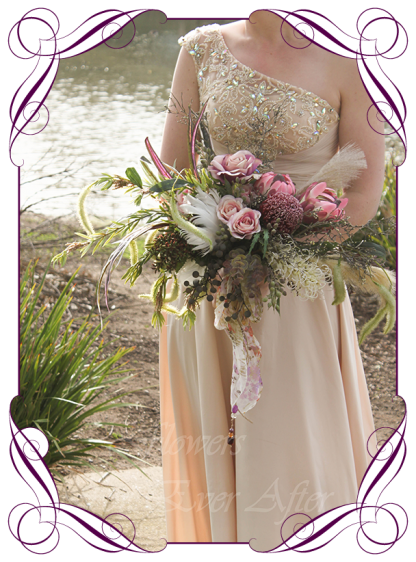 Artificial Bridal Bouquet, Rustic Bohemian silk wedding flowers featuring artificial Protea, Banksia, Pampas Grass, roses, Eucalypt Foliage, Melbournes Best Silk Bridal Florist Flowers For Ever After. Custom Orders, World Wide Shipping