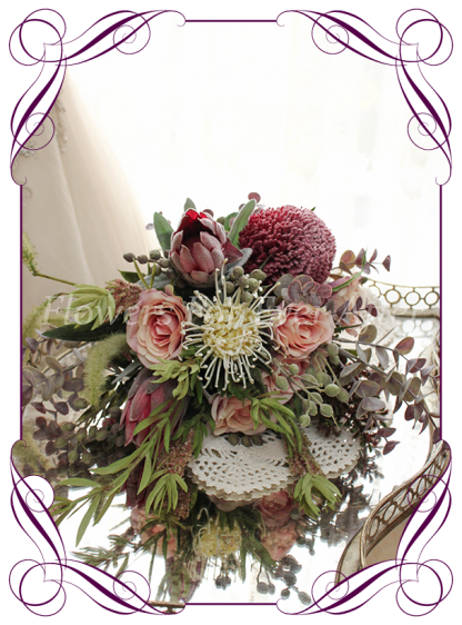 Artificial Bridesmaid Bouquet, Rustic Bohemian wedding flowers featuring artificial Protea, Banksia, Pampas Grass, roses, Eucalypt Foliage, Melbournes Best Silk Bridal Florist Flowers For Ever After. Custom Orders, World Wide Shipping