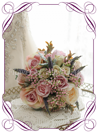 Artficial Bridal Flower packages, bridesmaids bouquet posy in high grade silk flowers bouquets, hair combs, corsages. Made in melbourne by Australia's best silk wedding florist. World wide shipping