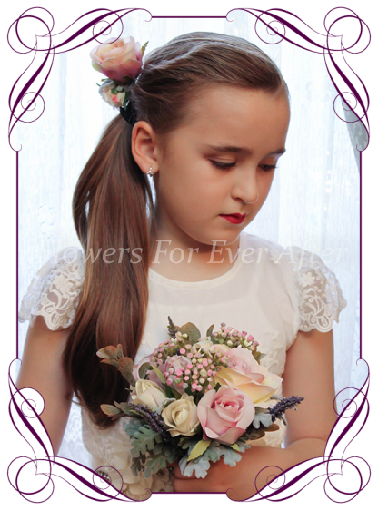 Artificial wedding flower bouquets, flower girl posy in silk roses and foliage, classical style