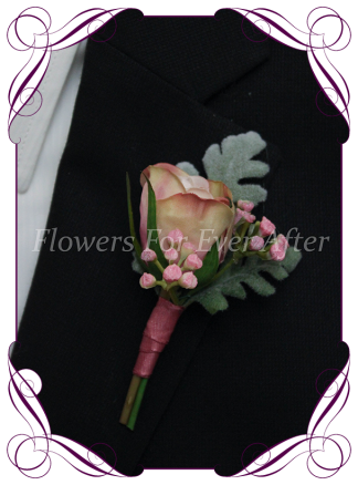 Faux Silk Bridal Flower Groomsmens Boutonierre, Silk wedding florist Melbourne. Worldwide Shipping