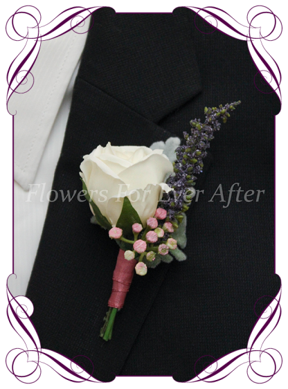 Artificial Faux Bridal Flower Grooms Boutonierre, Silk wedding florist Melbourne. Worldwide Shipping