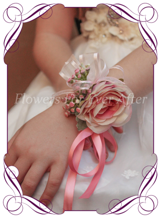 Flower Girl wrist corsage, faux flower corsages and wedding flowers made in Melbourne