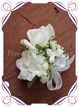 Artificial silk flower wedding corsage, formal, prom faux flower corsage. Made In Melbourne, Worldwide Shipping