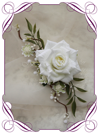 Silk artificial bridal hair flowers comb design ideas. White rose with foliage and bling crystals. Made in Melbourne. Buy online