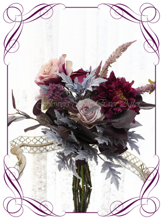 Unusual moody wedding flower design idea, silk artificial bridesmaids posy bouquet. Wedding flowers, bridal party flowers. Dark plum, mauve, purple, navy berries, smokey leaves, dusty pink, dahlia, roses. Made in Melbourne. Buy online. Shipping worldwide.