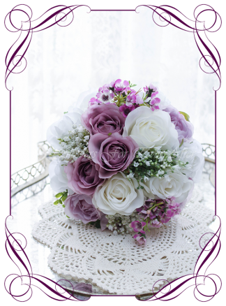 Silk artificial wedding bouquet ideas. Mixed purple lilac and white silk bridesmaid bouquet wedding flowers. Roses, peonies, baby's breath. Cadbury purple flowers. Made in Melbourne. Buy online. Shipping worldwide.