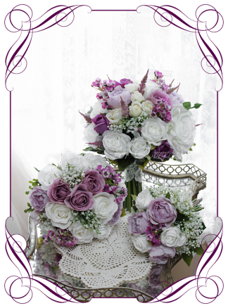 Silk artificial wedding bouquet ideas. Mixed purple lilac and white silk bridal bouquet set wedding flowers package. Roses, peonies, baby's breath. Cadbury purple flowers. Made in Melbourne. Buy online. Shipping worldwide.