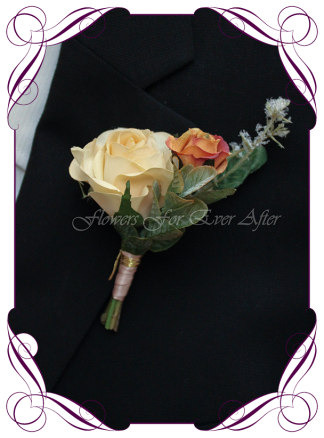 Artificial Faux Bridal Flower Grooms Boutonniere, Silk wedding florist Melbourne. Worldwide Shipping. Gents earth tone cream and rust burnt orange flower button