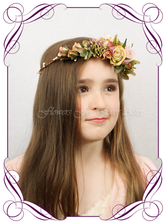 Artificial Faux Bridal Flower Girl hair halo / crown with cream and burnt orange boho colours. Silk wedding florist Melbourne. Worldwide Shipping. Earth tone cream and rust flower wreath