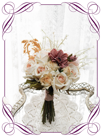 Silk artificial boho rustic autumn / fall harvest theme style bridesmaids wedding posy bouquet. Earth tones and dusty pink flowers. Made in Melbourne by Australia's best wedding florist. Buy online. Quick shipping. Fast delivery. Wedding flower ideas