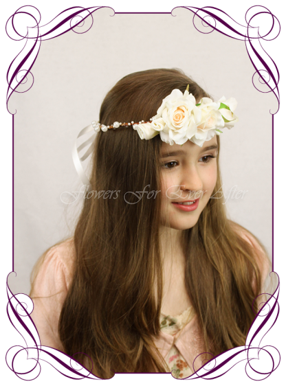 Silk Artificial floral hair crown / halo featuring faux flower Champagne white roses and pearls in a simple style. Made in Melbourne by Australia's best Silk Florist, worldwide shipping available