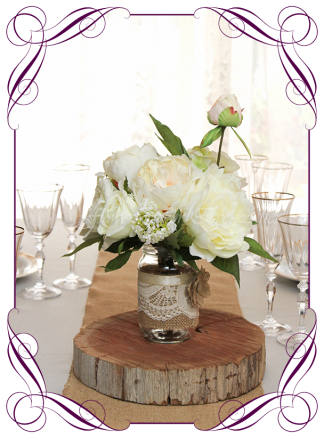 Silk faux flowers table centrepiece decorations for a wedding, engagement, birthday party, communion, confirmation, baby shower, baby shower, ideas. With white roses, peonies, hydrangea for mason jar. Buy online. Made in Australia. Shipping world wide.