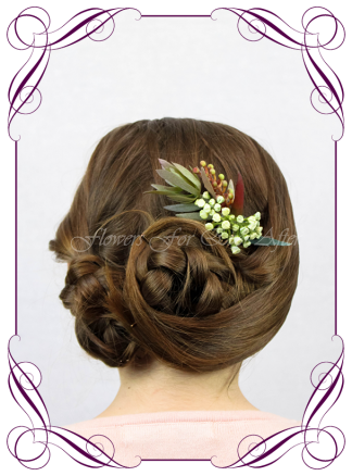 Silk artificial faux Australian native hair comb design. Burgundy and burnt orange rust, gum leaf foliage. Made in Melbourne by Australia's best wedding florist. Buy online.