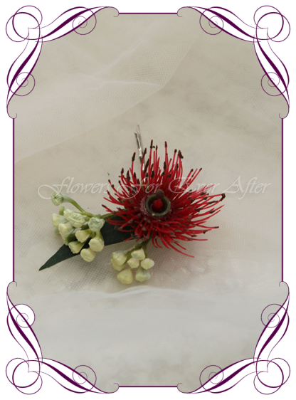 Silk artificial faux Australian native hair comb pin design. Red gum flower and nuts. Made in Melbourne by Australia's best wedding florist. Buy online.