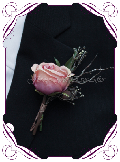 silk artificial unusual stick / twig and dusty pink rose mens gents button boutonniere for wedding, prom, formal. Grooms groomsmans flower. Made in Australia. Shipping world wide. Buy online.