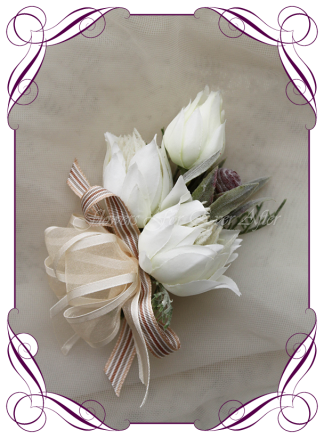Silk artificial ladies native wrist or pinned corsage for wedding, formal or prom. Blushing bride protea. Elegant design corsage. Made in Melbourne. Shipping worldwide. Buy online