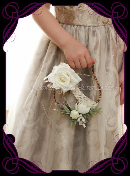 Silk artificial little toddler flower girl rustic boho loop for weddings. Made in Australia. Buy online. Postage worldwide