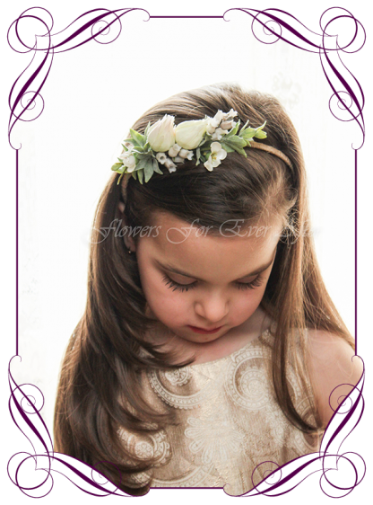 Silk artificial flower girl head band floral head piece for weddings, birthdays, special event hair design. Communion Confirmation hair flowers head band. Made in Melbourne, Shipping worldwide. buy online