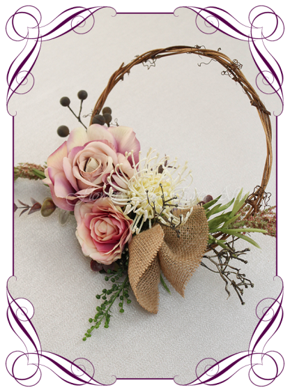 Silk artificial decorated rustic boho flower girl loop wreath with burlap, pink roses and natives for wedding ceremony. Made in Melbourne Shipping world wide. Buy online