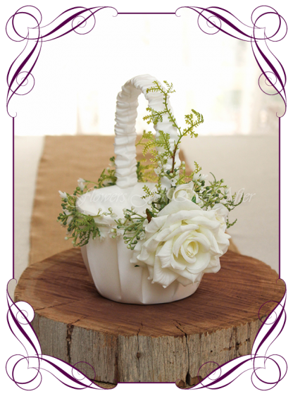 Silk artificial decorated elegant baby's breath gyp and white roses flower girl wedding basket. Made in Melbourne Shipping world wide. Buy online